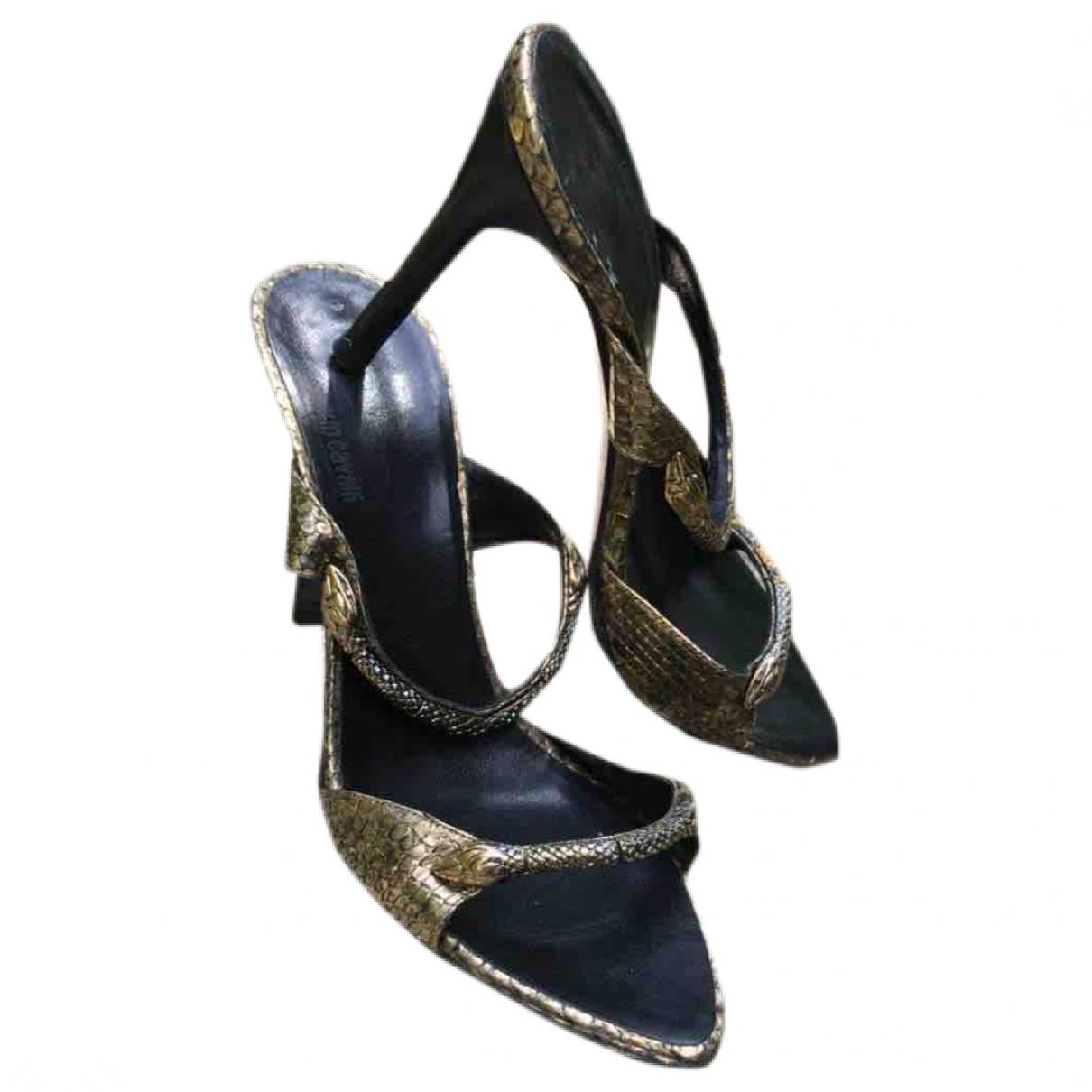 Roberto Cavalli \N Gold Leather Heels for Women 39 EU