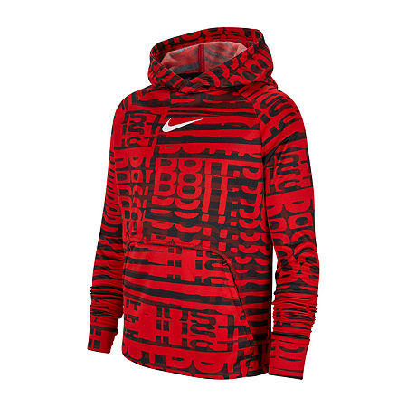 Nike Big Boys Fitted Sleeve Hoodie, Large , Red