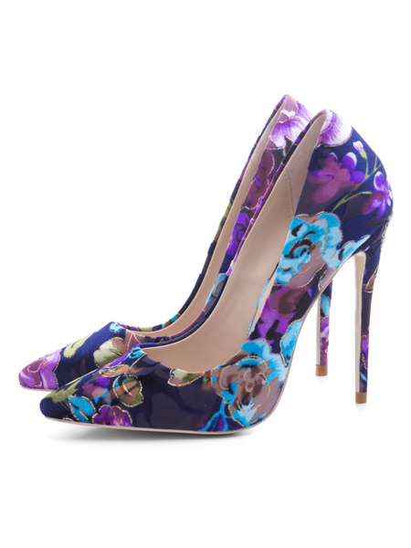 Milanoo Women's High Heels Floral Printed Slip-On Pointed Toe Plus Size Pumps