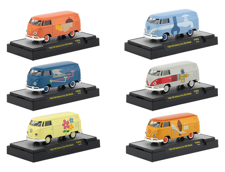 Auto Thentics Volkswagen 6 Cars Set Release 6 IN DISPLAY CASES 1/64 Diecast Model Cars by M2 Machines