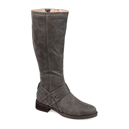 Journee Collection Womens Meg Wide Calf Stacked Heel Over the Knee Boots, 10 Medium, Gray