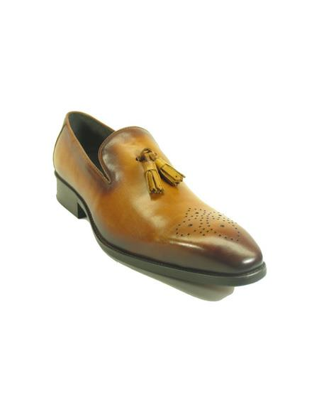 Mens Slip On Leather Tassel Loafers by Carrucci - Cognac