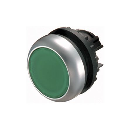 Eaton Flush Green Push Button - Maintained, M22 Series, 22mm Cutout, Round