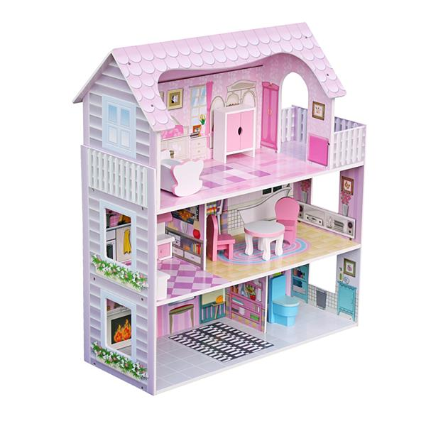 DIY Large Children's Wooden Dollhouse Kid House with Furniture - Pink