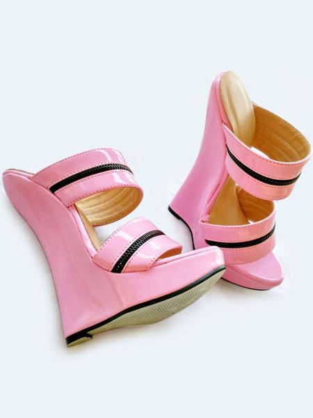 Milanoo Red Sexy Sandals Women Platform Open Toe Wedge Sandal Shoes