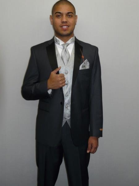 Mens One Button Charcoal Gray ~ Grey Slim Fit Tuxedo Suit Black Lapel