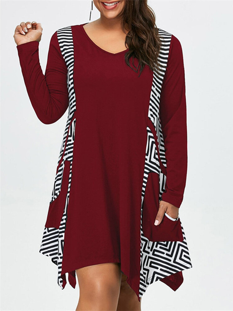 Asymmetrical Labyrinth Pattern Casual Dresses