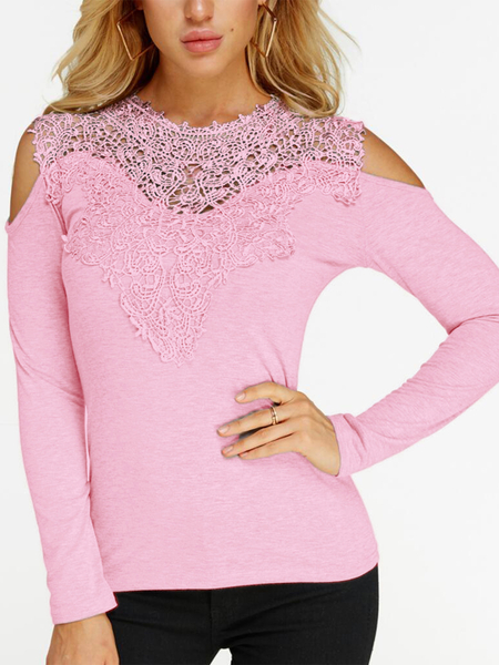 Yoins Pink Lace Insert Cold Shoulder Long Sleeves Fashion T-shirt