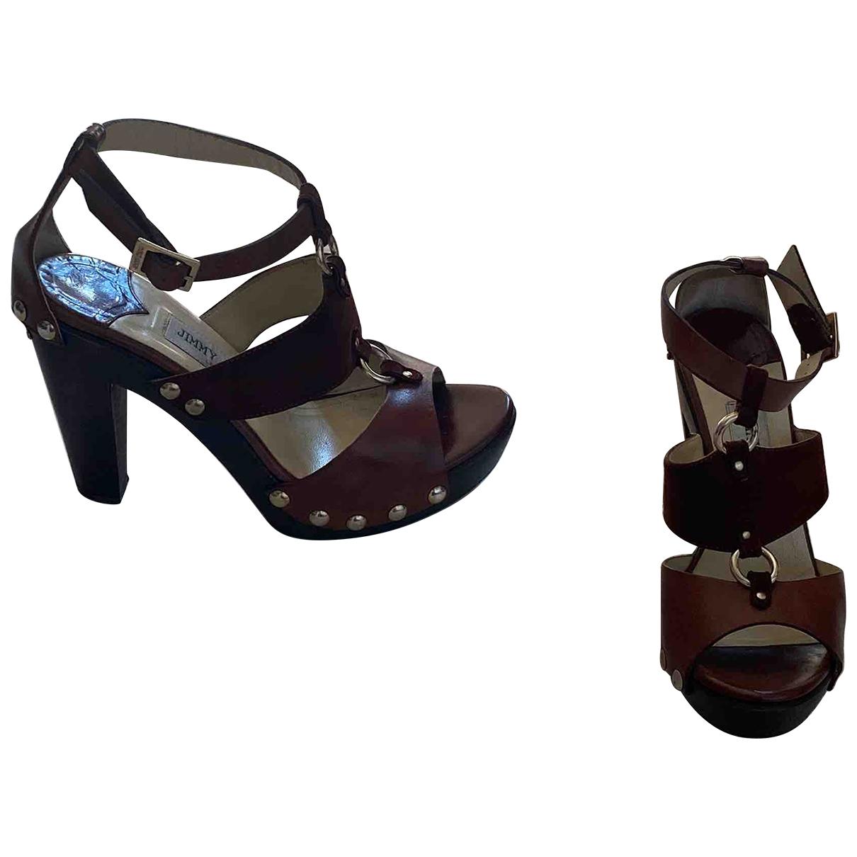 Jimmy Choo \N Brown Leather Sandals for Women 36.5 EU