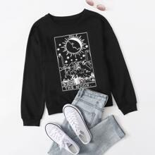 Tarot & Letter Graphic Sweatshirt