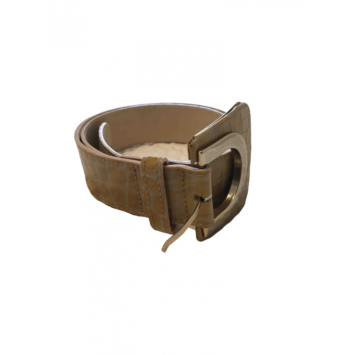 Reiss \N Beige Patent leather belt for Women 29 Inches