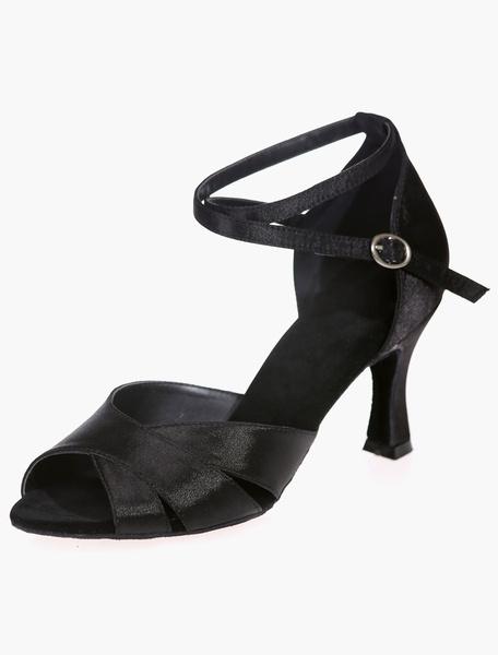 Milanoo Plus Size Black Satin Ballroom Shoes for Women