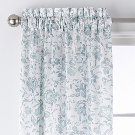 JCPenney Home Hilton Jacobean Light-Filtering Rod-Pocket Single Curtain Panel, One Size , Green