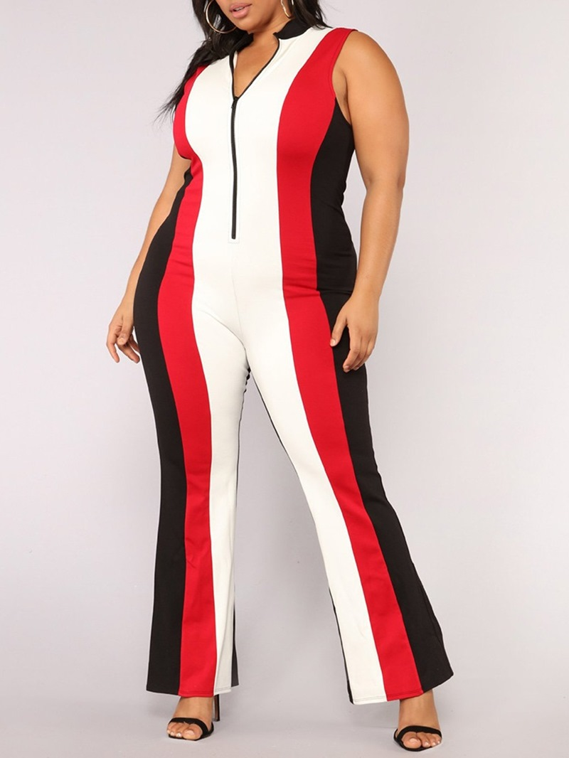 Ericdress Casual Color Block Women's Slim Jumpsuit