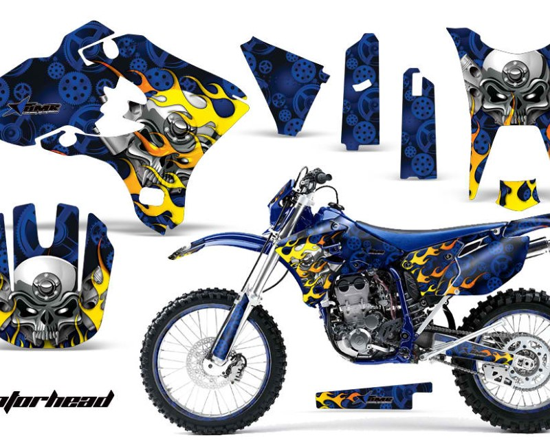 AMR Racing Graphics MX-NP-YAM-WR250F-WR450F-03-04-MO U Kit Decal Sticker Wrap + # Plates For Yamaha WR250F WR450F 2003-2004 MOTORHEAD BLUE