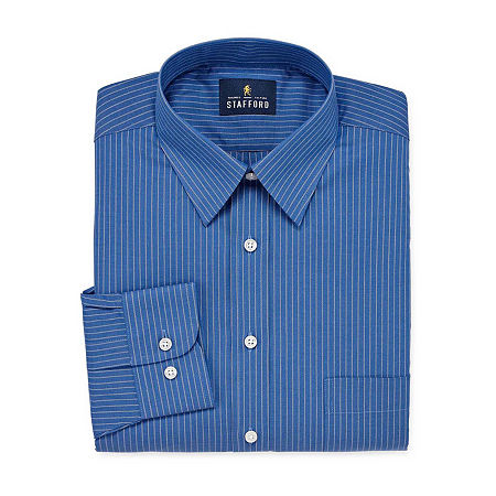 Stafford Mens Wrinkle Free Stain Resistant Stretch Super Dress Shirt, 16 34-35, Blue