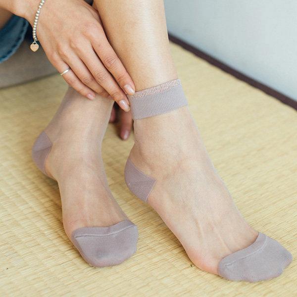 Women Elastic Ultra-thin Transparent Short Crystal Ankle Socks