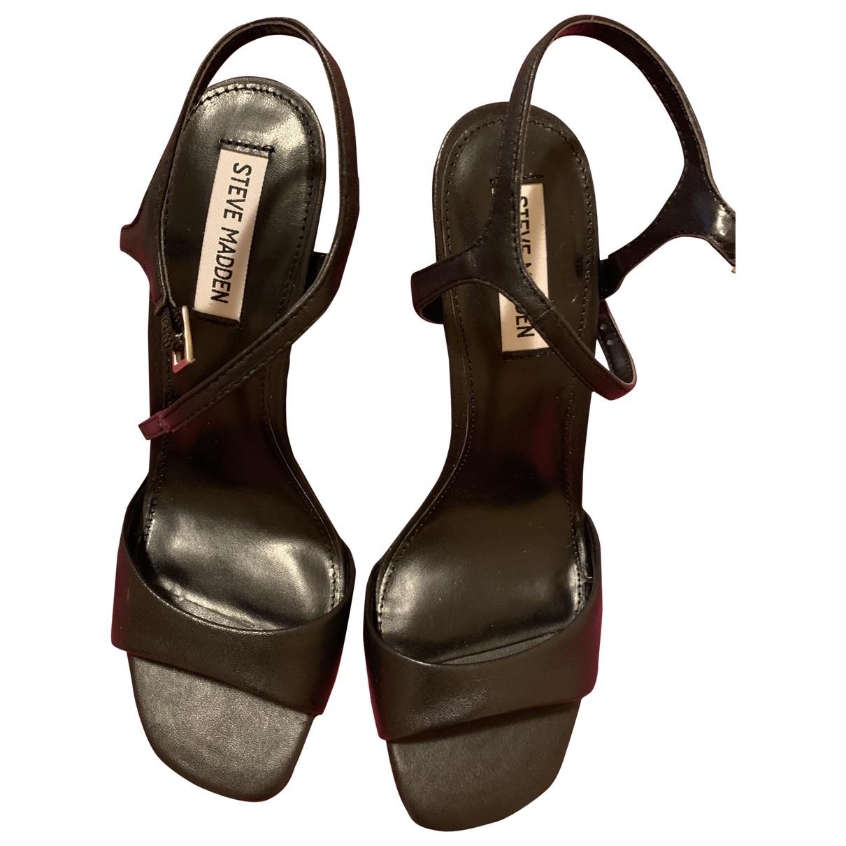 Steve Madden \N Black Leather Sandals for Women 39 EU