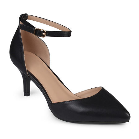Journee Collection Womens Ike Ankle-Strap Pumps, 10 Medium, Black