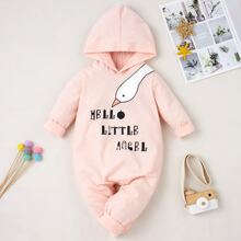 Baby Girl Cartoon & Slogan Graphic Jumpsuit