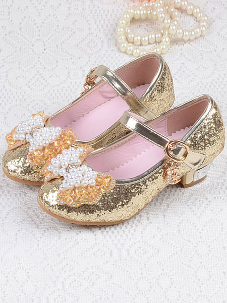 Milanoo Wedding Flower Girl Shoes Glitter Round Toe Bow Pearls Detail Party Shoes For Kids