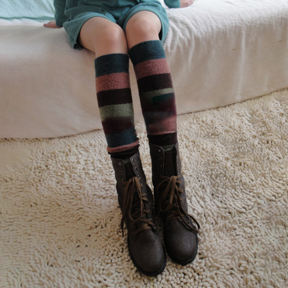 Women's Compression Socks Striped Wool Cashmere Socks Set Knee Warm Boots Set Knee Socks