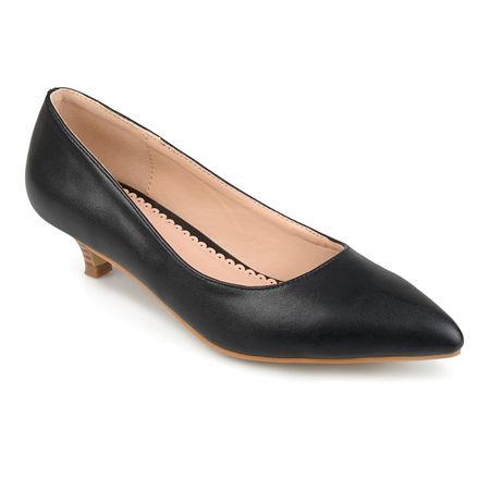 Journee Collection Womens Bohme Pumps Pointed Toe Kitten Heel, 10 Medium, Black