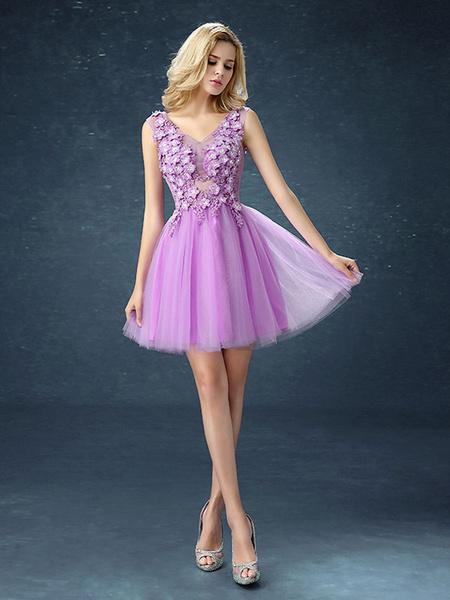 Milanoo Cute Prom Dresses Short Tutu Lilac Graduation Dress Flowers Applique V Neck Mini Party Dress