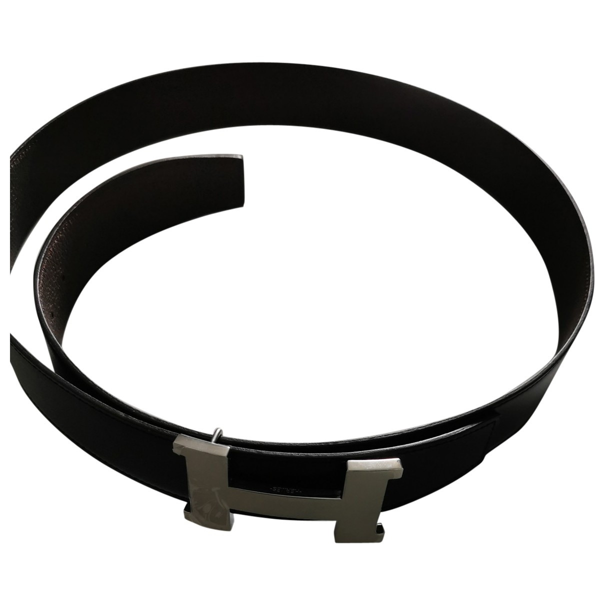 Hermès H Black Leather belt for Men 100 cm