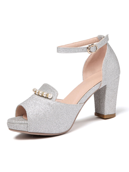 Milanoo High Heel Sandals Blond PU Leather Peep Toe Chains Evening Shoes Women Party Shoes