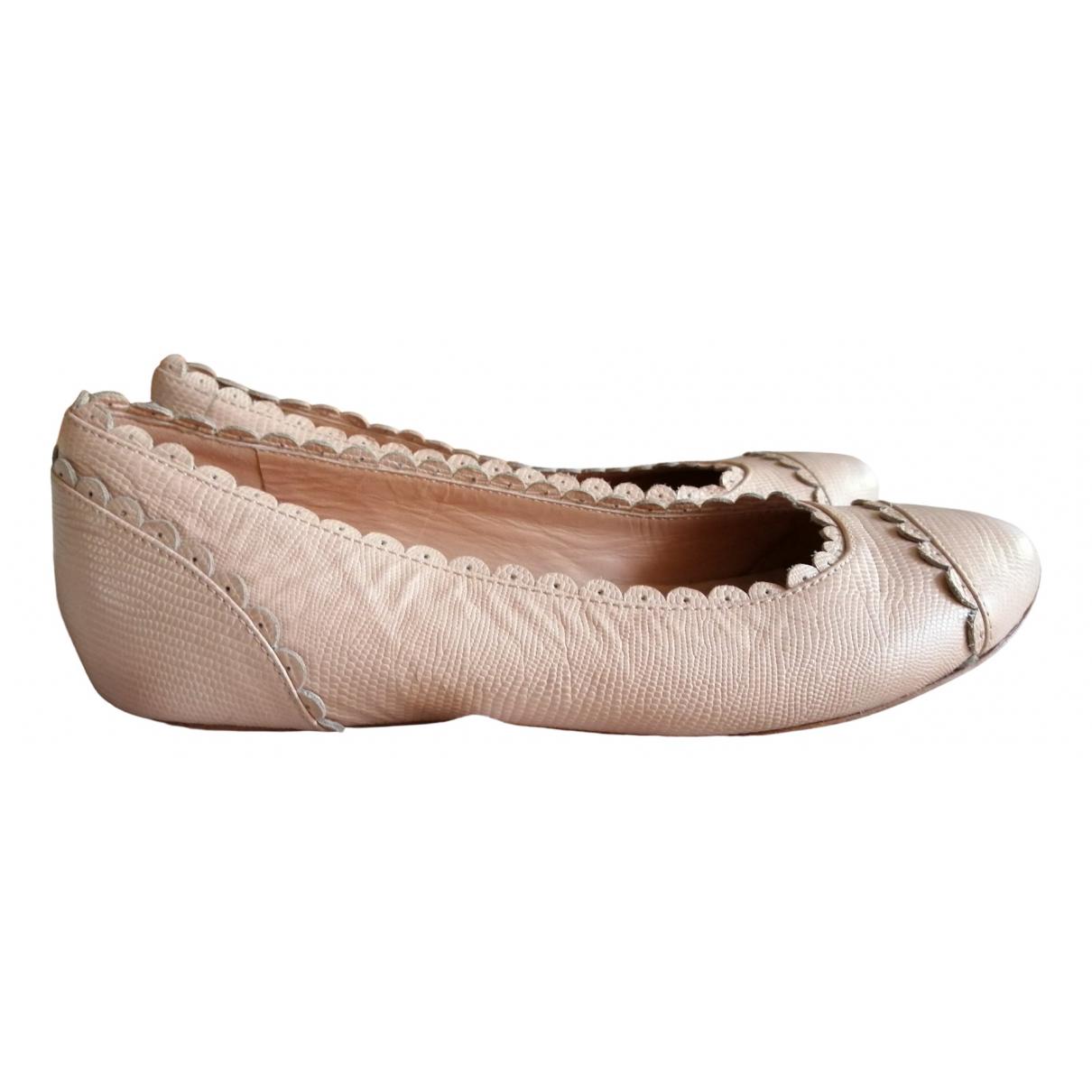 Chloé \N Pink Leather Ballet flats for Women 37.5 EU