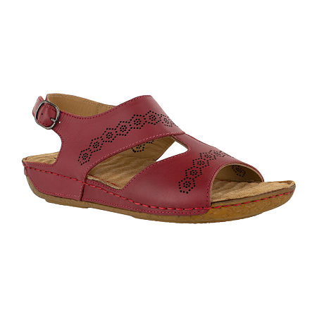 Easy Street Sloane Womens Adjustable Strap Footbed Sandals, 9 1/2 Medium, Red