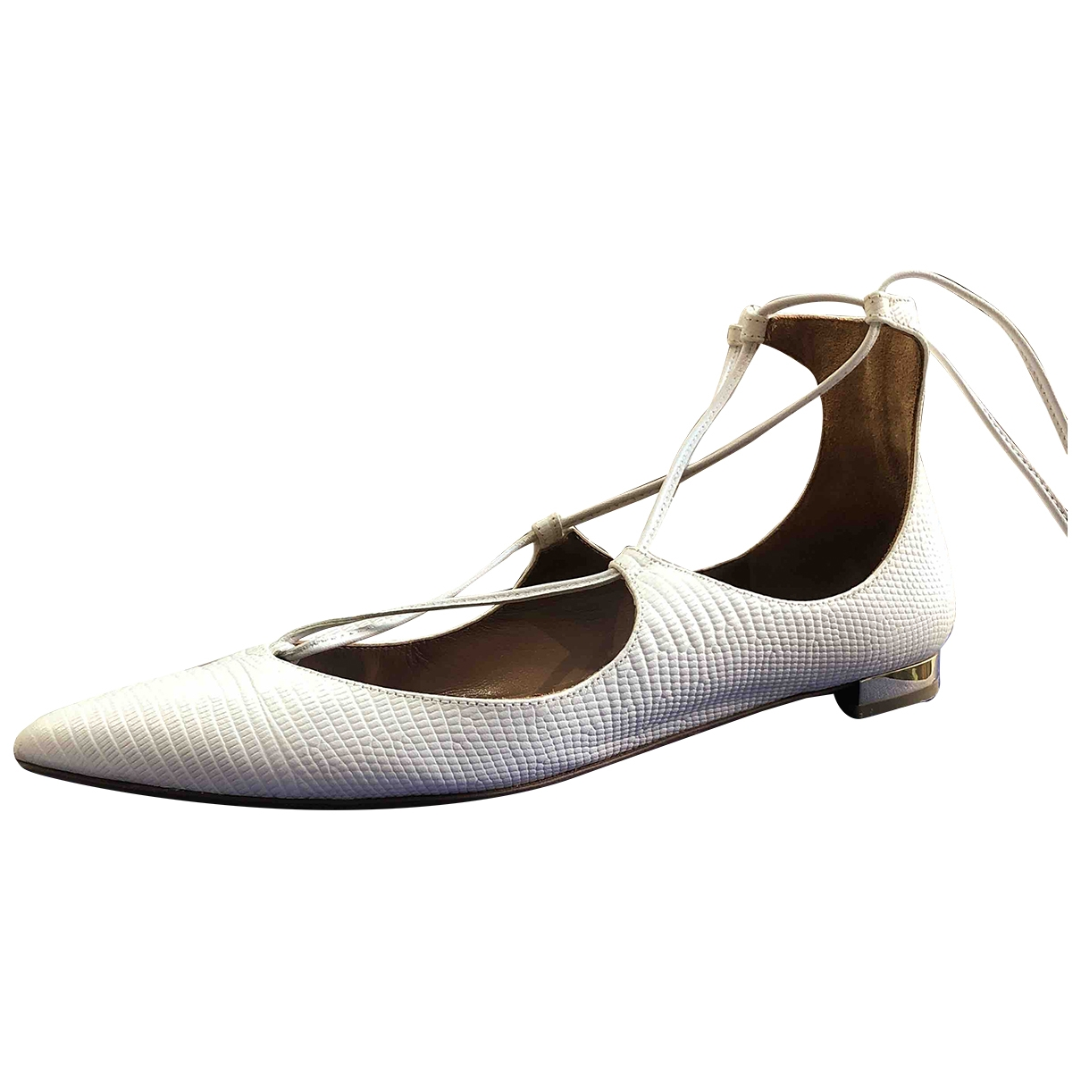 Aquazzura \N White Leather Ballet flats for Women 36 EU
