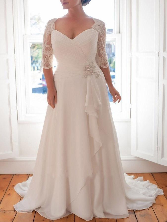 Ericdress Half Sleeves Lace Plus Size Wedding Dress