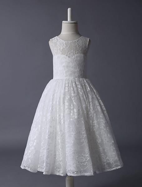 Milanoo Vestido de damitas con escote transparente de encaje sin mangas