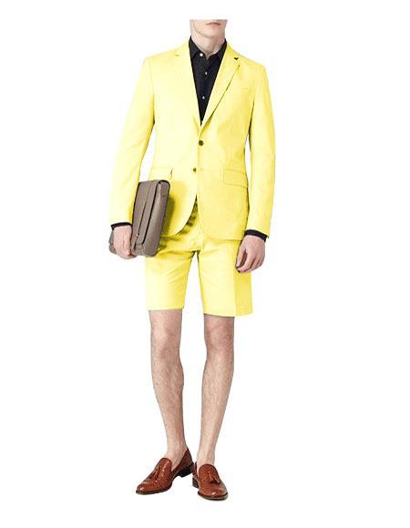Yellow Suit Two Button Notch Lapel