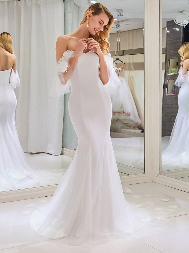 Ericdress Off the Shoulder 3D Flowers Mermaid Wedding Dress