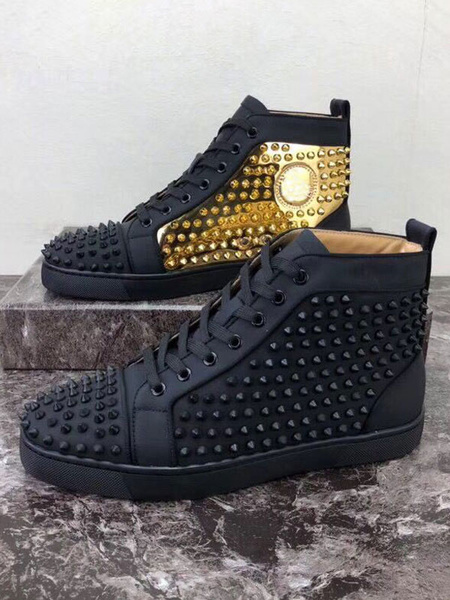 Milanoo Mens Spike Sneakers 2020 Shoes black Round Toe Rivets lace up High top Casual Skate Shoes