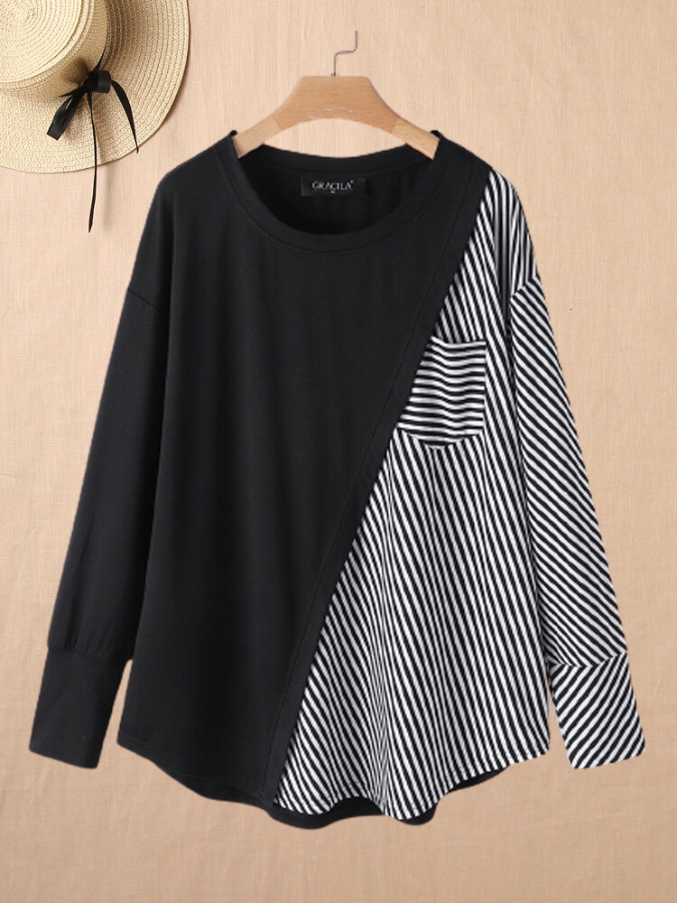 Striped Patchwork O-neck Long Sleeve T-shirt With Pocket