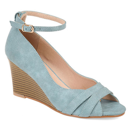 Journee Collection Womens Palmer Pumps Buckle Peep Toe Wedge Heel, 7 Medium, Blue