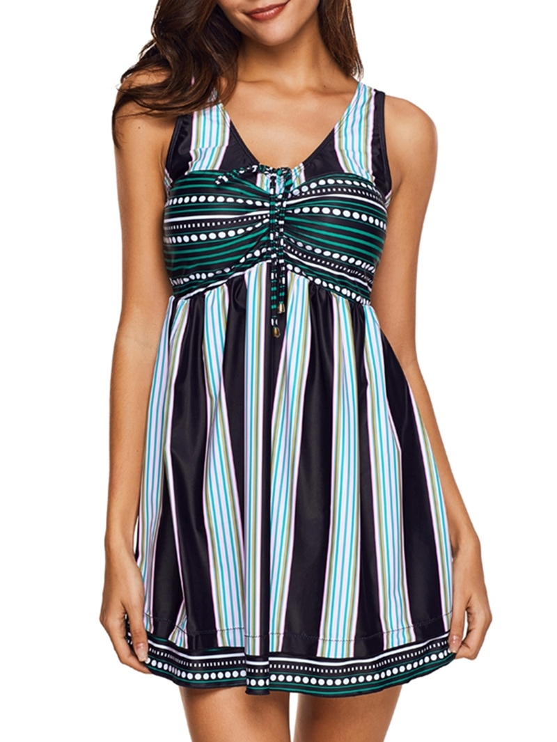Ericdress Stripe Patchwork Beach Look Swimwear