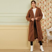 Solid Lapel Collar Longline Teddy Coat