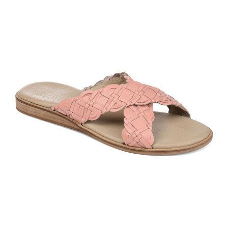 Journee Signature Womens Bryson Criss Cross Strap Flat Sandals, 8 1/2 Medium, Pink
