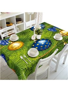3D Colorful Footballs with Thick Green Grassland Printed Thick Polyester Tablecloth