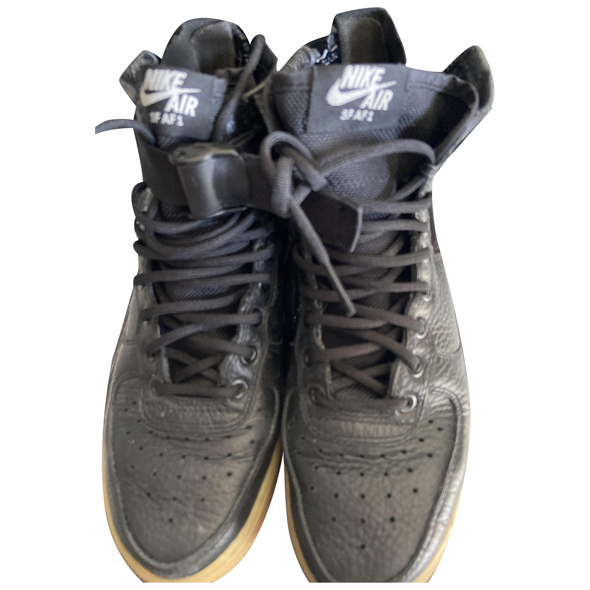 Nike Air Force 1 Black Leather Trainers for Women 37.5 EU