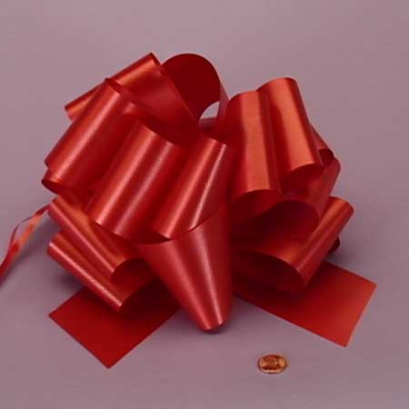 Satin Red Embossed Pull String Bow 8