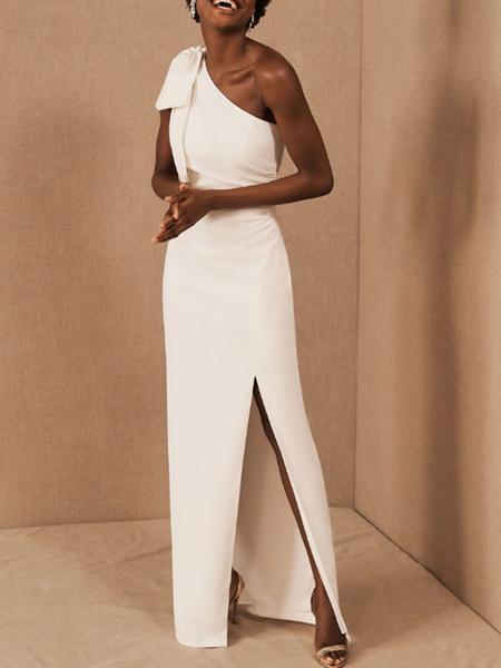 Milanoo Simple Wedding Dress Sheath One Shoulder Sleeveless Bows Bridal Gowns