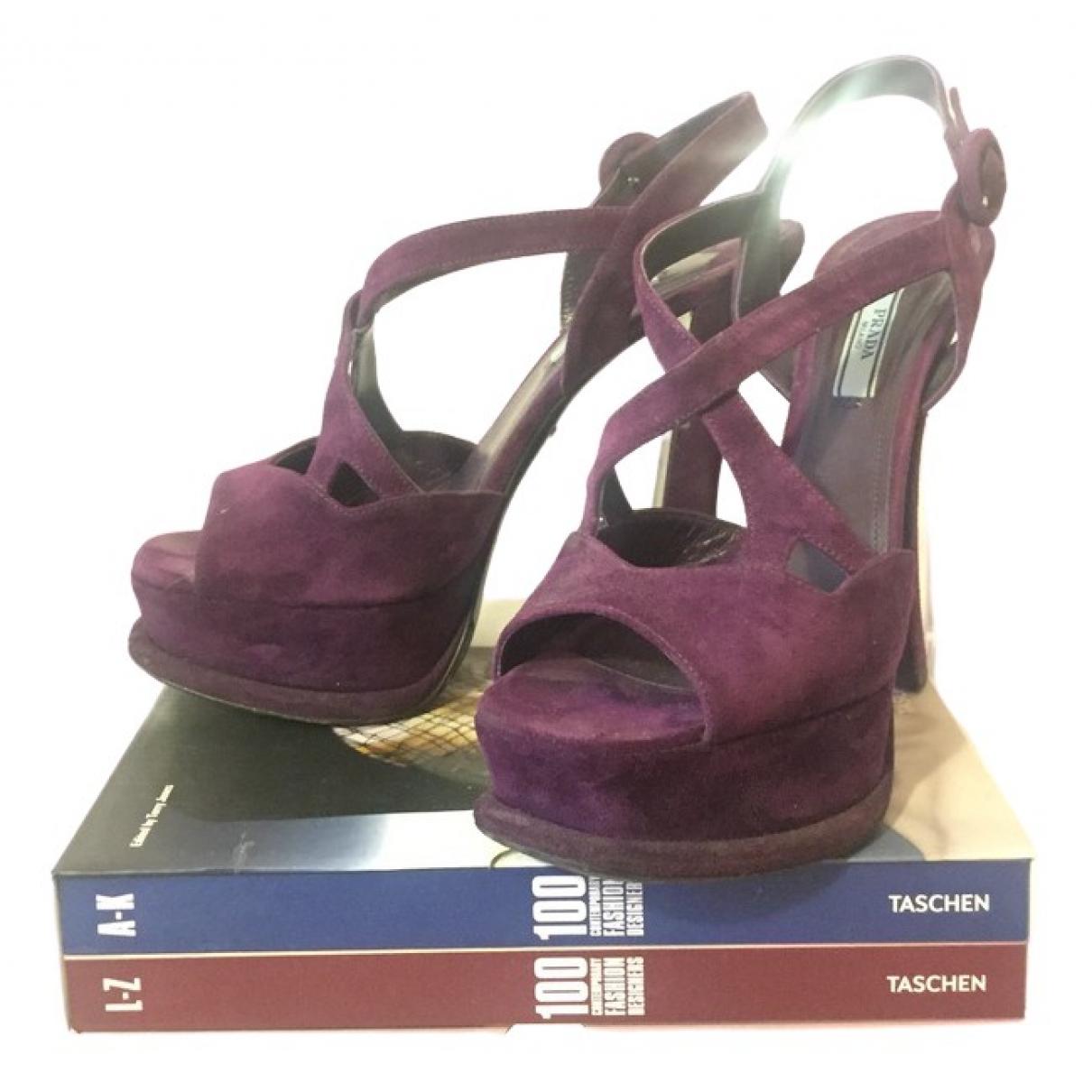 Prada \N Purple Suede Sandals for Women 40.5 EU