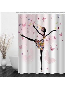 Beautiful Butterfly Dancer 3D Printed Bathroom Waterproof Shower Curtain