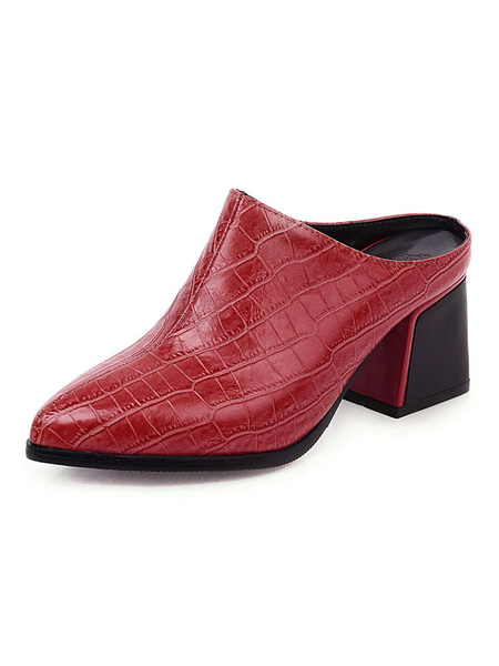 Milanoo Womens Mules Croco Print Pointed Toe Yellow Heel Plus Size Block Heel Shoes